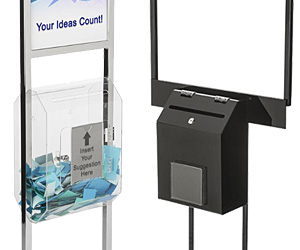 Poster Stands with Ballot or Suggestion Boxes