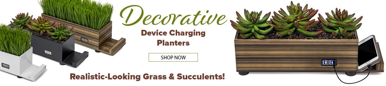 Add the look of realistic baby grass or succulents to your interior with these decorative device charge hubs!