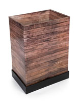 "4"" Deep Rustic Printed Corrugated Retail Bin with Faux Wood Grain Exterior"