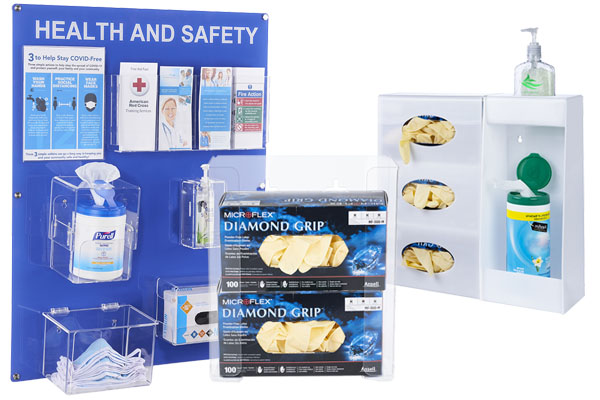 Acrylic PPE dispensers for gloves and masks