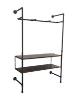 Pipe Outrigger Wall Unit with 2 Dark Brown Shelves