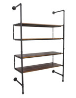 Industrial Retail Wall Shelves with Dark Brown Finish
