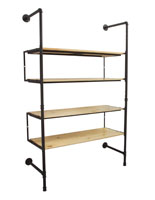 Industrial Pipe Shelving Wall Unit with 4 Shelves