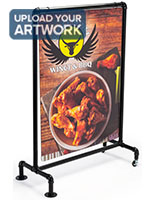 30 x 40 black pipe swinger sign with custom weatherproof signage