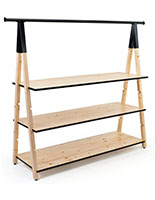 Geometric wooden a frame clothing rack with base shelves
