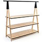Wooden a frame clothing rack with base shelves and natural pine color