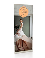 Premium retractable banner stand on display at a wedding.