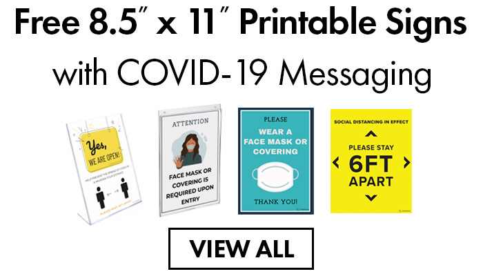 Free printable signs with covid19 messaging