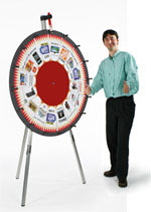Use these spinning prize wheels to give away free stuff at a tradeshow or corporate function.