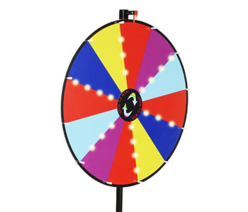 Prize wheel with lights and multi-color panels.