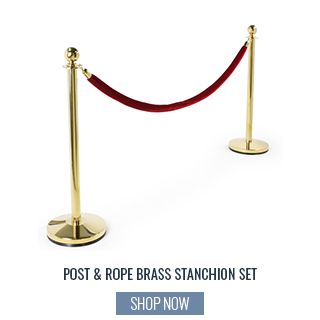 Brass and Rope Stanchion