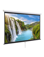 "90"" Wall/Ceiling Retractable Projection Screen with Manual Pull Down"