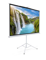 "108"" Tripod Retractable Projector Screen with Black Backing"