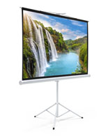"90"" Portable Tripod Projector Screen with Vibrant Waterfall Image"