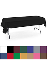 Rectangle tablecloths with six and eight foot length options
