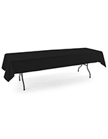 Black rectangle tablecloths with open back design