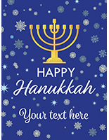 "18"" x 24"" ""Happy Hanukkah"" window poster with deep blue background"