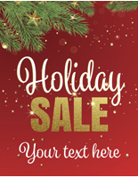 "18"" x 24"" ""Holiday Sale"" Shop Window Sign with Red Background"