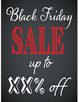 Store window Black Friday poster with chalkboard theme