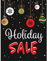 "Store window ""Holiday Sale"" poster with festive artwork"