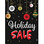 "Store window ""Holiday Sale"" poster with red and white text"