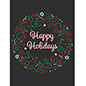 Holiday chalkboard window display poster with festive artwork