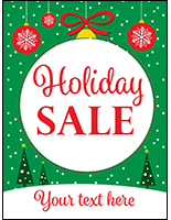 "18"" x 24"" ""Holiday Sale"" window poster with customization field"
