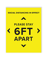 6 feet social distancing sign with satin finish