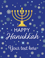 "22"" x 28"" store window ""Happy Hanukkah"" poster with snowy blue background"