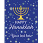 "22"" x 28"" store window ""Happy Hanukkah"" poster with deep blue snowy background"