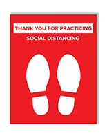 Keep social distance sign with pre printed graphics on premium photo paper