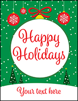 "22"" x 28"" ""Happy Holidays"" trendy retail poster with green background"