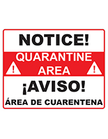 Pre-Printed bilingual quarantine sign made of premium paper