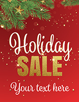 "22"" x 28"" ""Holiday Sale"" trendy window sign with red and green background"