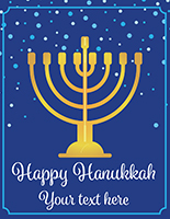 "22"" x 28"" ""Happy Hanukkah"" window sign with gold menorah"