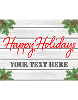 """Happy Holidays"" window display sign with cottage theme"