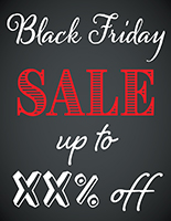 Storefront Black Friday chalkboard window sign with digital printing