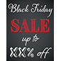 Storefront Black Friday chalkboard window sign with festive artwork