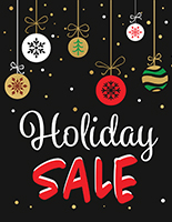 "Store window ""Holiday Sale"" sign with digital printing"