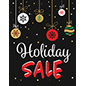 "Store window ""Holiday Sale"" sign with festive artwork"