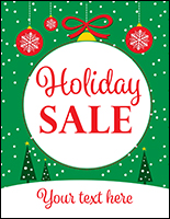 "22"" x 28"" trendy ""Holiday Sale"" window poster with personalized text field"