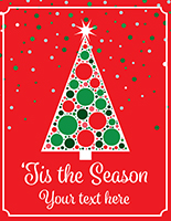Retail Christmas tree store window poster with custom text