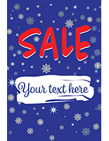 "24"" x 36"" ""Winter Sale"" window sign with snowy blue background"