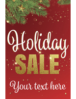 "24"" x 36"" trendy holiday window sign with red background"