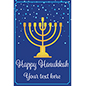 "24"" x 36"" ""Happy Hanukkah"" window sign with gold menorah"