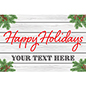 Happy Holidays window display sign with cottage theme