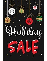"Store window chalkboard ""Holiday Sale"" banner with red and white text"