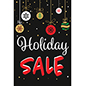 "Store window chalkboard ""Holiday Sale"" banner with festive artwork"