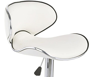 Modern White Bar Stool with Height Adjustability