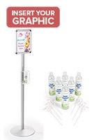 Aluminum standing sanitizer dispenser poster frame